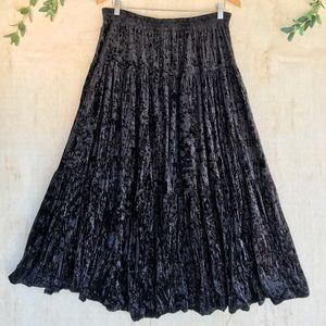 Vintage Velvet Tiered Maxi Skirt
